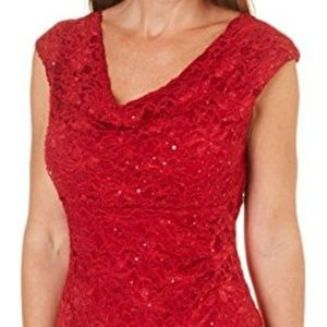 Connected Apparel Cap Sleeve Sequin Lace Cowl Neck